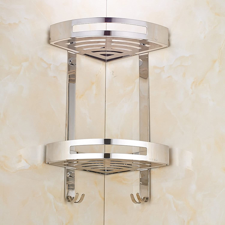 304 stainless steel bathroom double triangular wall-mounted bathroom shelves bathroom multi-purpose basket racks