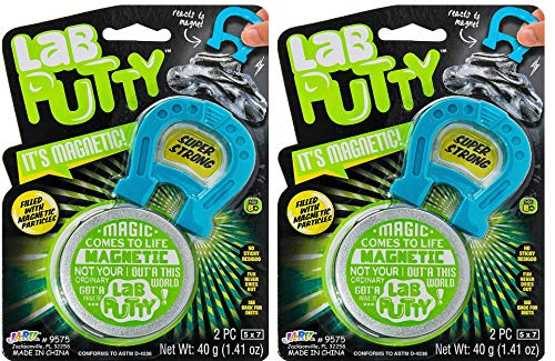 JA-RU Lab Putty Magnetic Slime with Magnet Included (2 Packs) Magnetic Toy with Best Thinking Smart Crazy Stress Putty with Tin, Sensory Toy Stress Relief Party Favor Toy Plus a Sticker 9575-2s