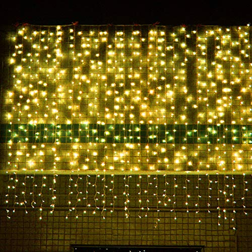 YAOOA LED Curtain Lights 3m x 3m White Wedding Backdrop Lights 8 Modes for Outdoor/Indoor with Remote Timer for Girls Bedroom, Party, Wedding, Christmas