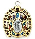 Anandashop-UK- Horseshoe Symbol Hand Fatima Wood Wall Hanging Plaque Hamsa Home Blessing with Semi Precious Stones Gift