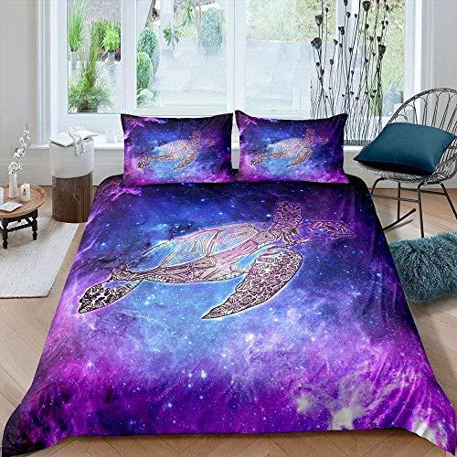 LHAOSIX ropa de cama Púrpura, cielo estrellado, tortuga, animal 135x200cm 3 Piezas Juego de Ropa de Cama de microfibra para Infantiles Juego de funda nórdica cama 3D impresión 1 Funda de Edredón y 2 F