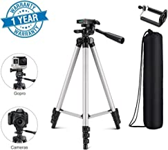 SHOPTOSHOP Adjustable Aluminium Alloy Tripod Stand Holder for Mobile Phones, 360 mm -1050 mm, 1/4 inch Screw Metal Body (Silver and Black) (Camera Stand)