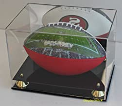 DisplayGifts UV Protection Football Display Case Holder Stand, (with Mirrored Backing)