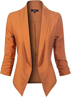Women's Solid Open Front 3/4 Sleeve Formal Style Blazer