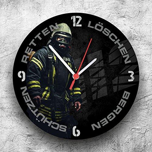 Hochwertige Feuerwehr Wanduhr Uhr Retten Löschen Bergen Schützen 112