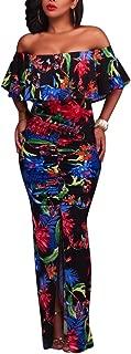 Women's Off Shoulder Dress Hawaiian Floral Evening Gown Long Maxi Dress