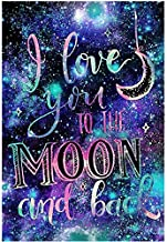 DIY 5D Diamond Painting Kit,Diamond Painting Kits for Adults, 5D DIY Full Drill Diamond Art Kit with Crystal Rhinestone,Paint with Diamond for Home Wall Decor I Love You to The Moon and Back