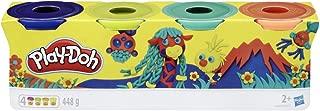 Play-Doh Hasbro E4867ES0 Wild,4 件装,深蓝,柠檬绿,蓝*和橙色