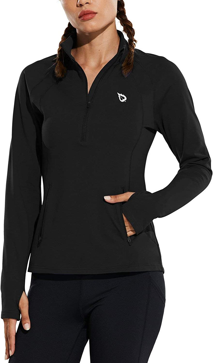 BALEAF Womens Fleece Half Zip Running Pullover Long Sleeve Thermal Workout Exercise Jackets Gear for Cold Weather