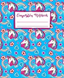 Composition Notebook: Back to School Cute Unicorn on a Cloud Kawaii Style Wide Rule Lined Book