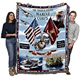 US Marine Corps - Land Sea Air - Cotton Woven Blanket Throw - Made in The USA (72x54)