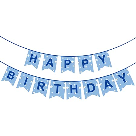 Party Propz™ Happy Birthday Banner(Sky Blue Glitter) / Happy Birthday Decoration / Happy Birthday Party Supplies /Birthday Banner for Party