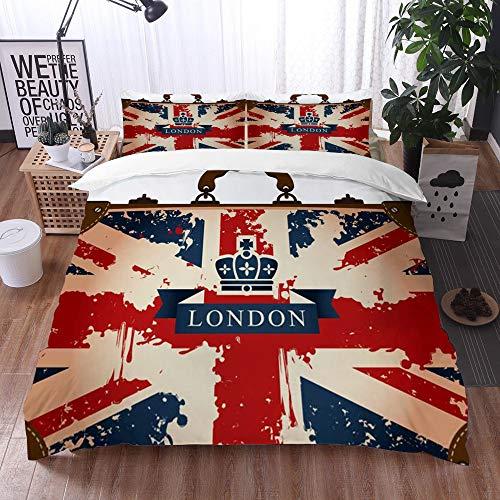 Bedding Juego de Funda de Edredón -Maleta de Viaje Vintage con Bandera británica, Cinta de Londres e Imagen de la Corona/Microfibra Funda de Nórdico (Cama 220 x 240 cm + Almohada 50X80 cm)