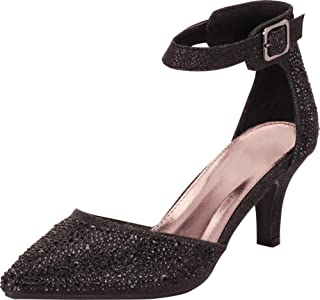 Women's Pointed Toe D'Orsay Ankle Strap Mid Heel Pump