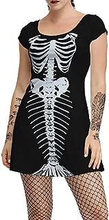 Doric Womens Short Sleeve O-Neck Skull Print Dress Halloween Party Casual Costume Dress