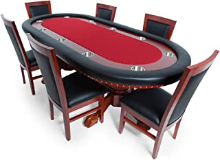BBO Poker Rockwell Poker Table for 10 Players with Speed Cloth Playing Surface, 94 x 44-Inch Oval, Includes 6 Dining or Lounge Chairs