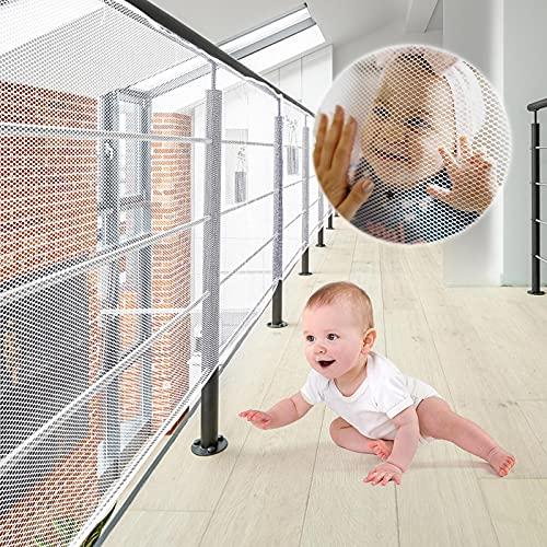 XiYee Malla De Seguridad para Escaleras, 3 Metros Red de Seguridad para Balcones, Red de Seguridad para Niños, Redes De Protección de Las Escaleras Balcón, Malla Tejida para Escaleras (White)
