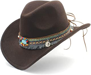 Lei Zhang Men Women Wool Western Cowboy Hat With Tassel Belt Pop Wide Brim Church Hat Sombrero Hat Fascinator Size 56-58CM
