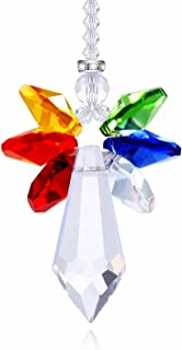 Anna Crystalworld Rainbow Guardian Angel Crystal Suncatcher for Home/Car Decoration & Porch Decor & Hangings Crystal Glass Ornament (Rainbow)