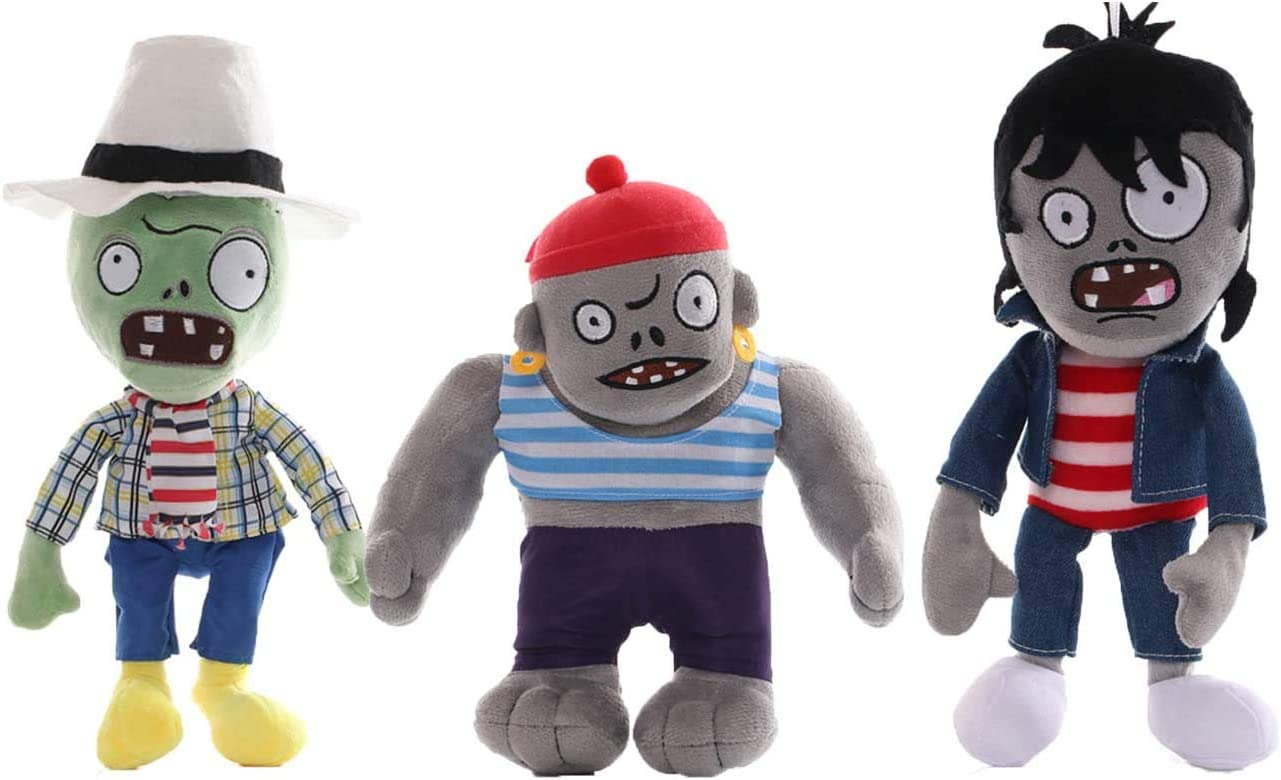Plants Vs. Zombies 1 2 Stuffed Plush Toy Tall for Children, Geart Gift for Halloween, Christmas (Set of 3 Zombie B)