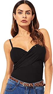 Women's Sleeveless V Neck Spaghetti Strap Cross Wrap Crop Cami Tank Top
