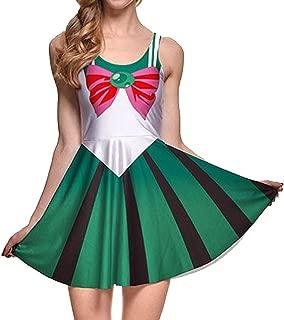Girls Sailor Moon Skater Dress Stretchy Anime Cosplay Costume Mini Skirt