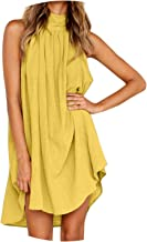 Womens Holiday Irregular Dress Ladies Summer Beach Sleeveless Party Verano Dresses,Yellow,XXL,C