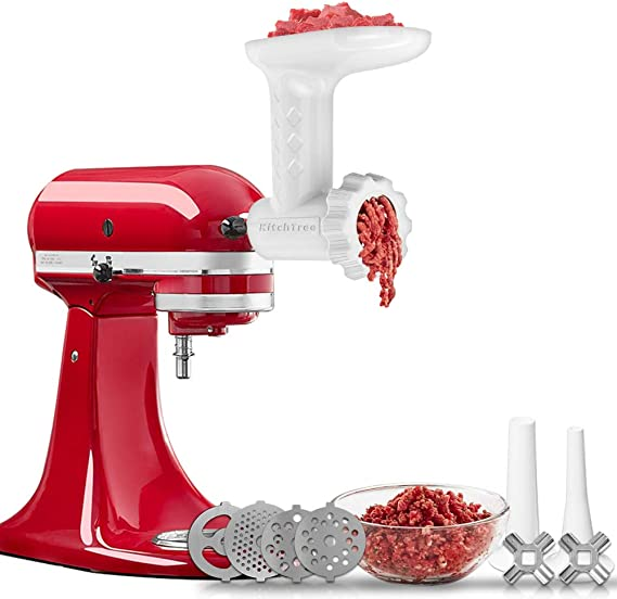 Food Grinder Attachment For KitchenAid Stand Mixers Includes 2 Sausage Filler Tubers