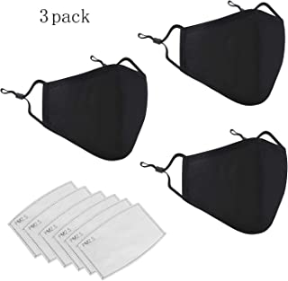 Mouth Mask, Unisex Reusable Cotton Blend Ear Loop Face Mask Washable, Anti Dust PM2.5 Warm Ski Cycling Safety Windproof Black Cotton Face Mask for Cycling Camping Travel 3PCS