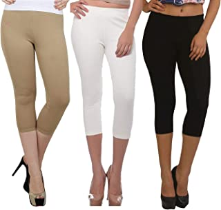 Fablab Capris Styles_Yoga_Gym_Cycling_for Girls_Ladies_Women_Cotton Capri_CLS_190-3-29BeWB,BeigeWhiteBlack,Free Size Combo Pack of 3.