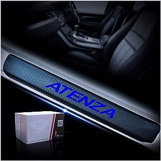 マツダ 専用のに合う MAZDA ATENZA 車の スカッフプレート サイドステップカバーガード カーボンファイバー ステッカー マット ブルー ブルー 4枚
