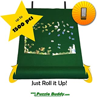 "Puzzle Buddy: Jigsaw Puzzle Roll Up Felt Mat | Securely Store, Transport Unfinished Puzzles, (Includes Box Stand), Perfect for Grandparents, Grandkids and Puzzle Enthusiasts | Made In the USA - Storage Kit For Puzzles Up To 1500 Pieces, 42"" x 24"""