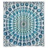 CHATAE, 167,6 cm (Ancho) x 182,9 cm (Altura), Mandala Indio Azul Pavo Real estándar, Resistente al Agua, Cortina de Ducha, 100% poliéster