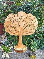 Albero Famiglia Puzzle in legno, oggetto originale unico fatto a mano in legno massiccio con i nomi della tua famiglia...