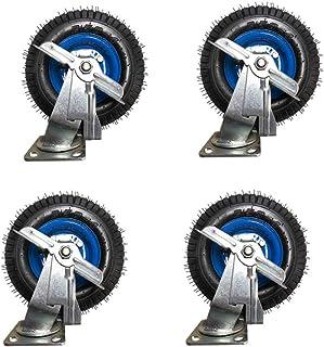 WaiMin Rubber Casters × 4, Heavy Duty Caster Industriële Trolley Casters, 25cm-30cm Stille Rem-Castor, Magazijn/Vervoer/Ma...