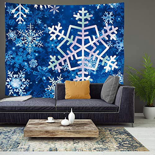 JoyPlus Winter Snowflakes Tapestry, Christmas Holiday House Decor Tapestries, Wall Hanging for Bedroom Living Room Dorm