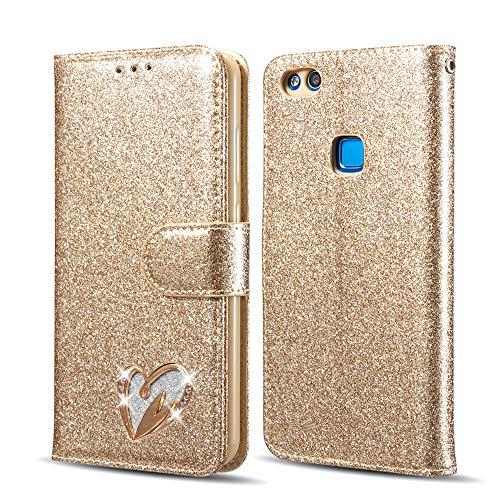 QLTYPRI Hülle für Huawei P8 lite 2017, Glitzer PU Leder Handyhülle Kartenfach Standfunktion Handschlaufe mit Eingelegten Herz Diamond Flip Schutzhülle Kompatibel mit Huawei P8 lite 2017 - Gold