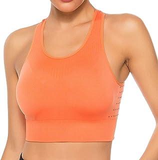 STARBILD Women's Seamless Sport Bra High Impact Cut Out Racerback Tank Tops Workout Yoga Crop Top
