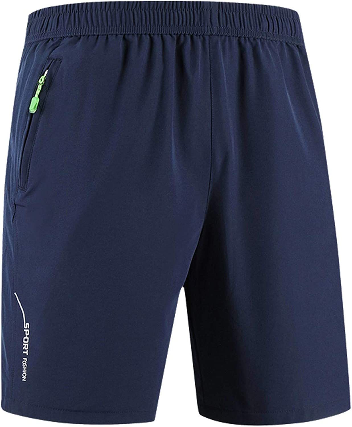 DIOMOR Mens Plus Size Zipper Pocket Athletic Shorts Quick Dry Beach Trunks Solid Color Big and Tall Sport Shorts