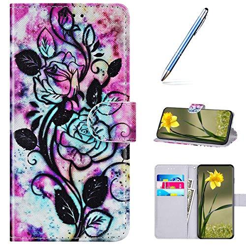 Kompatibel mit Huawei P40 Handyhülle Leder Handytasche,Flip Case mit Bunt Muster Schutzhülle Brieftasche Magnet Kartenfächer Lederhülle Kratzfest Tasche Bookstyle Klapphülle,Blumenmalerei