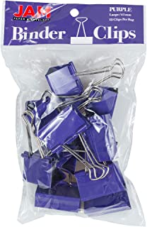 JAM PAPER Colorful Binder Clips - Large - 1 1/2 Inch (41 mm) - Purple Binderclips - 12/Pack