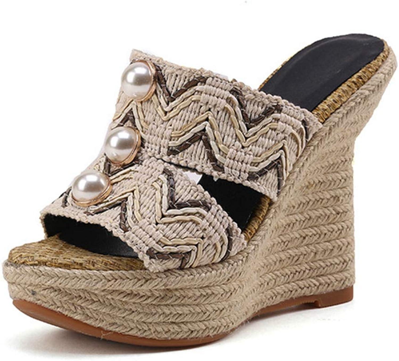 GIY Womens Platform Wedge Slides High Heel Slip on Peep Toe High Heels Espadrille Mules Sandals