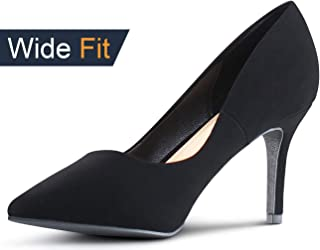 Wide-Fit Womens Pointy Toe Memory Foam Cushion High Heels Stiletto Dress Pumps
