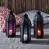 Lights4fun, Inc. Trio of Black Metal Moroccan Indoor Battery Operated LED Flameless Candle Lanterns with Colored Glass