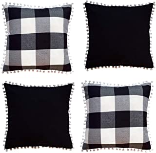 Hoplee Farmhouse Pillow Covers 18x18 Buffalo Plaid Outdoor Pillow Covers with White Pom Pom Trim Set of 4