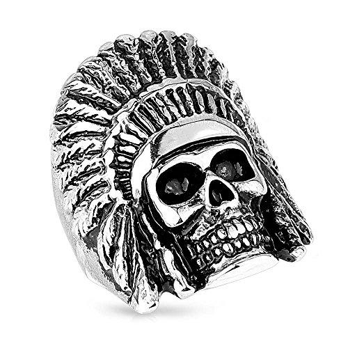 Mianova Herren Ring Edelstahl Massiv Breit Herrenring Männer Biker Rocker Schmuck Indianer Häuptling Totenkopf Größe 66 (21.0)