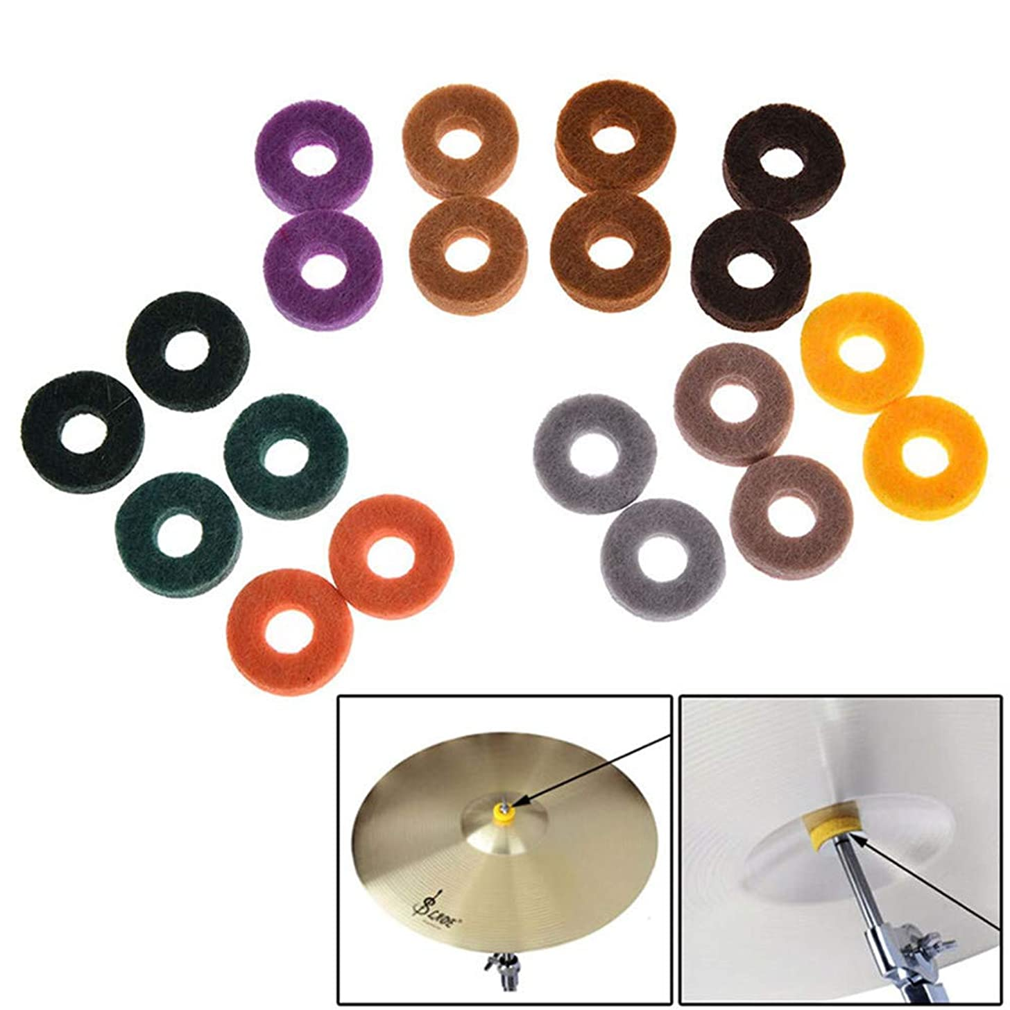 ROWEQPP 20 Pcs Round Soft Cymbal Stand Felt Washer Pad Replacement Cymbals Felt Pad Musical Instrument Accessories (Random Color)