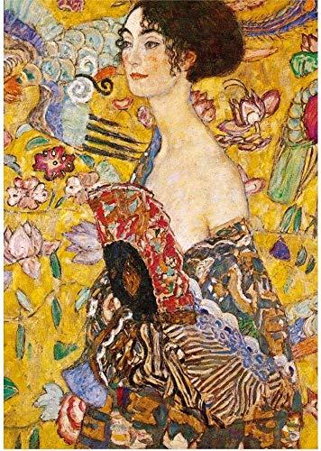 Wapipey Pintura famoso rompecabezas Mujer con abanico de Gustavo Klimt rompecabezas 1000 unidades de madera del rompecabezas colección del cartel de descompresión for adultos puzzle Niños Inicio juego