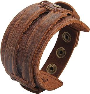 c5a27faa029982 AZORA Punk Leather Bracelet Handmade Cuff Bangle Braided Wristband  Adjustable Bracelets for Men,Kids,