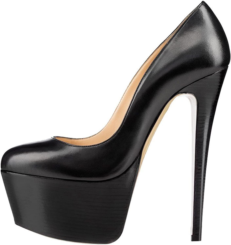Joogo Women Round Toe Platform Pumps Stiletto High Heels Dress shoes Black Matte Size 15